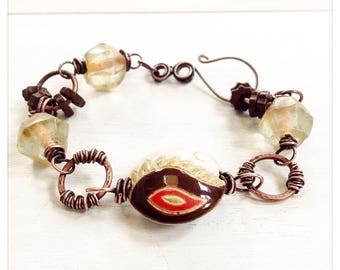 Burnished Sands - golem bead bracelet - recycled glass - copper bracelet - yellow and brown