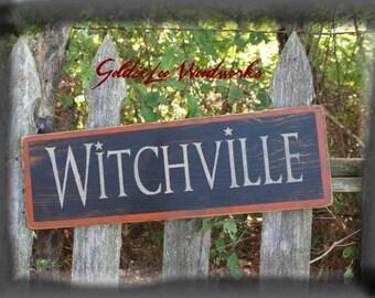 Primitive, Folk Art, Halloween, Witchville, wall sign