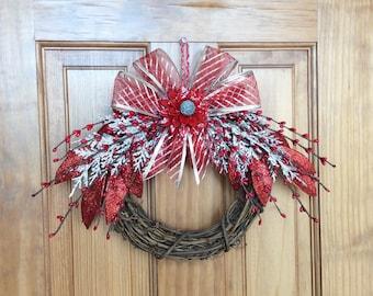 Christmas wreaths, holiday wreaths, red wreaths, pinecone wreaths, pinecone flowers, 8 inch wreaths, grapevine wreaths, Christmas decor