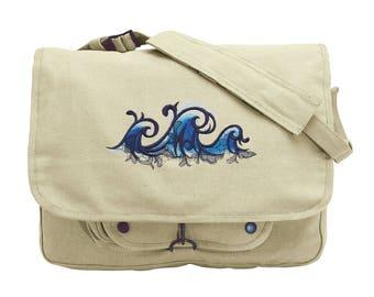Riptide Wave Surfer Embroidered Canvas Messenger Bag