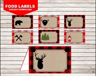 Lumberjack Food Labels instant download, Lumberjack Tent cards , Lumberjack Party Food tent cards
