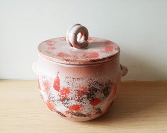 Potbellied cooking pot, terracotta cookie jar with handles, red beige black pot, food container, Greek style pot for storage and cooking