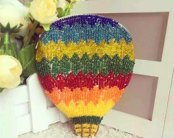 Beaded coin purse, colorful fire balloon change purse, handmade beaded gifts for girls