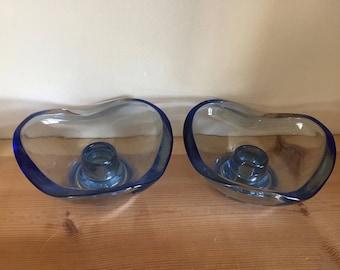 Pretty Pair Vintage Blue Glass Candlesticks Candleholders Wave Triangular