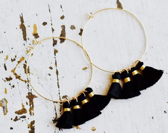 Black Tassel Boho Earrings, Tassel Earrings, Gold Hoop Tassel Earrings, Tassel Jewelry, Boho Jewelry