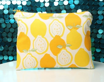 Lined Zipper Pouch with Vintage-Inspired Yellow and Orange Citrus Print