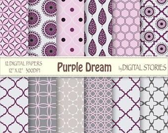 Purple Gray Moroccan Digital Scrapbook Paper Pack - Purple Dream - Instant Download