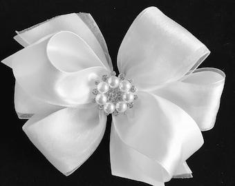 WHITE flower girl  satin organza hair bow wedding rhinestone pearl bling christening baptism pageant hair clip barrette elegant
