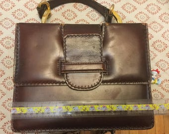 Vintage oxblood leather tote bag top handle wallet included brass sixties