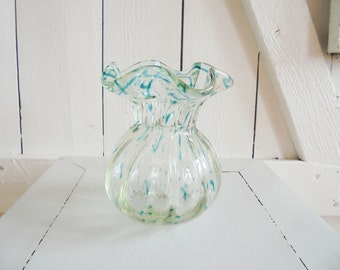 Vase Art Nouveau antique glass blue green Art Nouveau glass