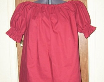Medieval Renaissance Pirate Wench Gypsy Maroon Chemise Shirt