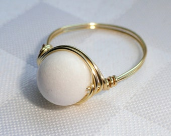 White jade gold wire wrapped ring, Gold white jade wire wrapped ring, White stone ring, Gold wire ring, Gifts