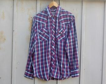 Vintage Border Town Shirt for Men - Purple Plaid Shirt - 70s Western Shirt - Pearl Snap Button Shirt - Long Sleeve Cowboy Shirt - 1970s