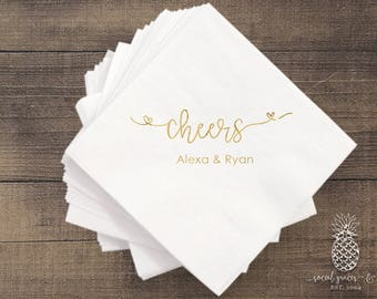 Cheers Wedding | Customizable Cocktail Party Napkins | Engagement Bridal Parties, Baby Shower or Birthday | social graces and Co
