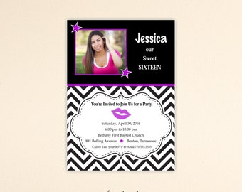 Sweet 16 Party Invitation, birthday, girl, chevron, quinceanera, teen, photo card, 18th, 16th, 13th, digital, printable, invite TB1011