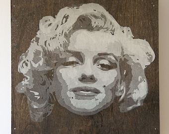 Marilyn Monroe Multilayer Graffiti Stencil Art on Black Stained Woodgrain Panel