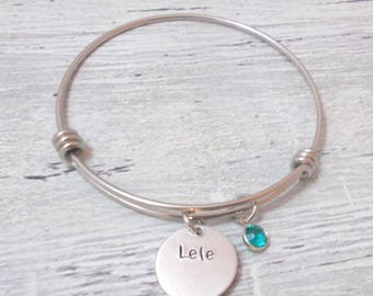 Personalized Name And Birthstone Bracelet, Personalized Name And Birthstone Bangle, Name Jewelry, Bangle Bracelet, Personalized Bangle