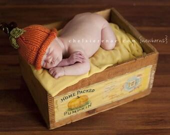 Pumpkin Hat, Knit Pumpkin Hat, Fall Hat, Autumn Hat, Baby Photo Prop Hat, Halloween Hat, Thanksgiving Hat, Autumn Baby Hat, Orange Hat, Hat