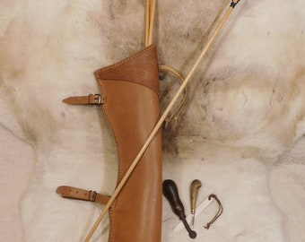 "Traditional Leather Archery Quiver ""Crimean Tatar"" , LARP, Nomad"