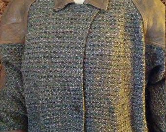 Beige Tweed & Leather Coat /by Winlit/ Wilson. Co/Size M
