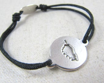 """Adjustable strap """"Corsica"""" 16mm - Silver 925 - cord braided to choose color"""