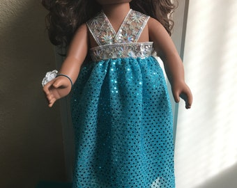 """Prom dress and corsage fits 18"""" hard body doll -- clothes only"""