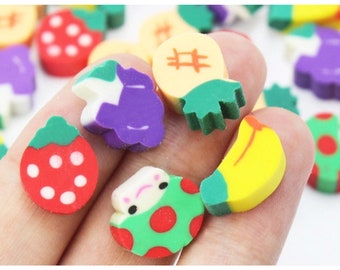 100pcs, Cute Fruit & Vegetable Shaped Erasers - Back to School Fun Stationery - Pencil Rubbers, Party Bag Fillers, Kids Crafts -ST28