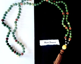 Heart Forward mala, mala beads, malabeads, meditation, yoga jewelry, prayer beads, custom mala, boho jewelry