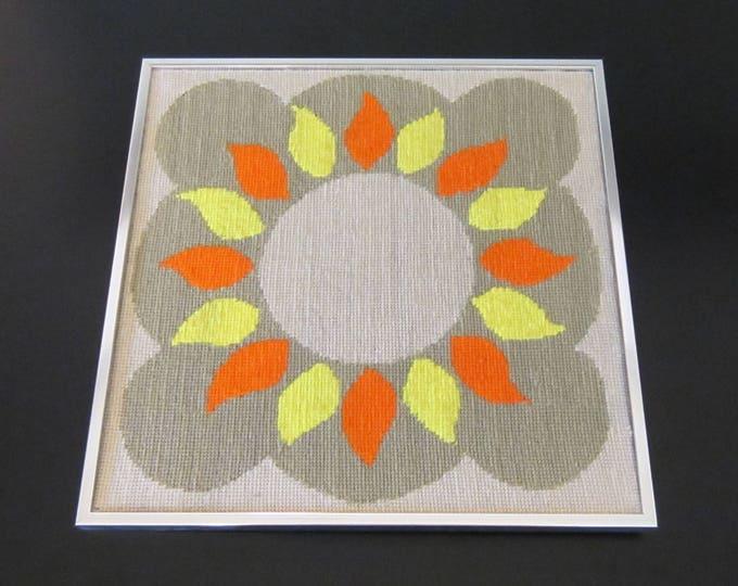 Mid Century Modern Framed Needlepoint Embroidery Geometric Sun Wall Art