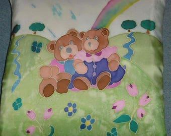 Nice cushion 2 Valentine Teddy bear painting on silk