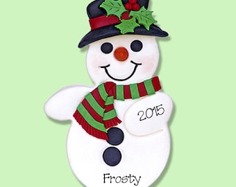 Frosty the Snowman HANDMADE POLYMER CLAY Personalized Christmas Ornament
