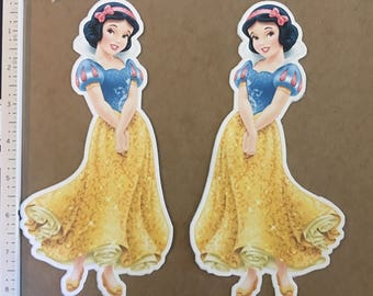 Snow white printed die cut 2.5, 4, 6, 8  perfect for making centerpieces and favor bags or use as a cake topper, cupcake topper and more