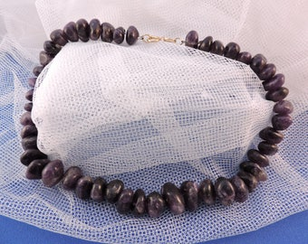 Beads Amethyst Nugget Necklace Choker February Aquarius birthstone