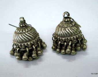 vintage antique tribal old silver dangle earrings jumka belly dance jewelry
