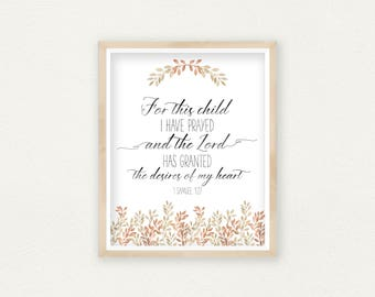 Nursery Decor, For This Child I Have Prayed, Bible Verse Decor, Baby Shower  Gift, Christian Decor, Christian Art, 1 Samuel 1:27, Scripture