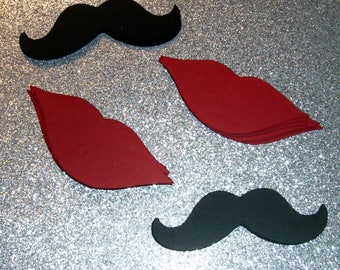 100 lips and mustaches 50 lips 50 mustaches red and black  Gender Reveal Little Man