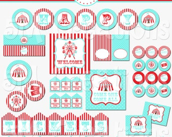 Carnival Printable Party Package - Circus Birthday Party Decorations - Circus Party Printables - Carnival Banner - INSTANT DOWNLOAD Pdf