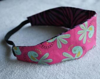Blue bird print/ Purple Zebra print reversible headband
