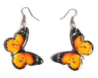 Transparent butterflies earrings in yellow and black; women's vintage insect jewelry