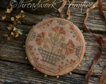 Primitive Cross Stitch Pattern - Quaker Carnations Pinwheel