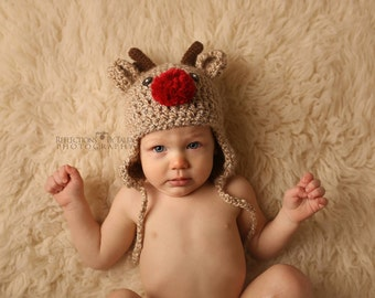 Reindeer Hat, Rudolf Hat, Baby Christmas Hat, Newborn Reindeer Hat, Baby Reindeer, Newborn Photo Prop, Holiday Hat, Christmas Gift
