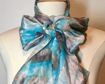 Aqua blue and brown shibori tie dye scarf, feminine romantic silk crepe de chine, abstract oblong, soft shiny silk scarf
