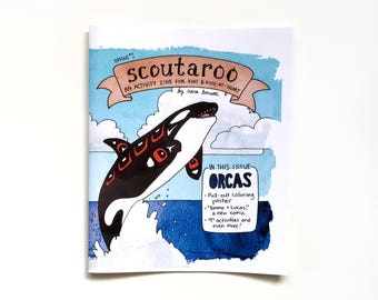 Scoutaroo Zine #1 Activity Book for Kids Orca Theme Killer Whale Children's Book Coloring Mazes Educational Hand Drawn Lettered Comics