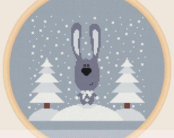 Rabbit in winter - Cross stitch pattern