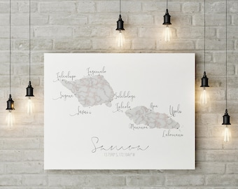 Samoa Map Print | Marble Wall Art | Samoa | South Pacific | Digital Download | Labeled Map | Polynesian Art