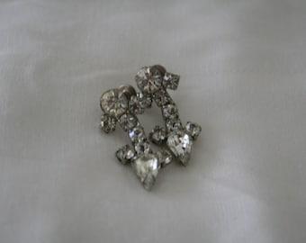 Vintage Rhinestone Earrings Marked Coro