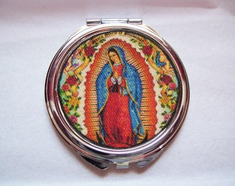 Virgin of Guadalupe compact mirror retro rockabilly Mexico saint religious kitsch