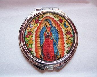 Virgin of Guadalupe compact mirror retro rockabilly Mexico saint religious kitsch