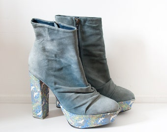 customized Japanese crane pattern fabric Asos blue suede leather boots size UK8 EU41 US10