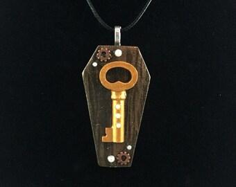 Steampunk Key Coffin Pendant Necklace